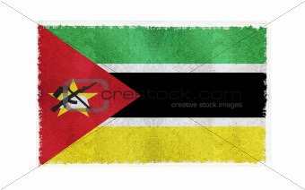 Flag of Mozambique on old wall background, vector wallpaper, texture, banner, illustration