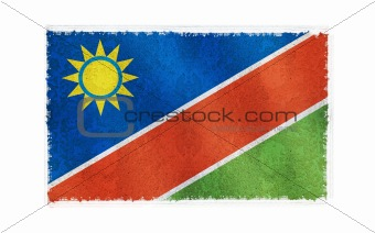 Flag of Nambia on old wall background, vector wallpaper, texture, banner, illustration