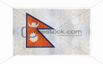 Flag of Nepal on old wall background, vector wallpaper, texture, banner, illustration