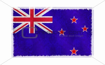 Flag of New Zealand on old wall background, vector wallpaper, texture, banner, illustration