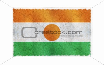 Flag of Niger on old wall background, vector wallpaper, texture, banner, illustration