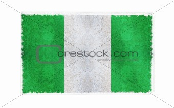 Flag of Nigeria on old wall background, vector wallpaper, texture, banner, illustration
