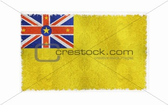 Flag of Niue on old wall background, vector wallpaper, texture, banner, illustration