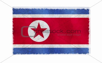 Flag of North Korea on old wall background, vector wallpaper, texture, banner, illustration