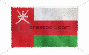 Flag of Oman on old wall background, vector wallpaper, texture, banner, illustration