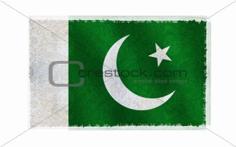 Flag of Pakistan on old wall background, vector wallpaper, texture, banner, illustration