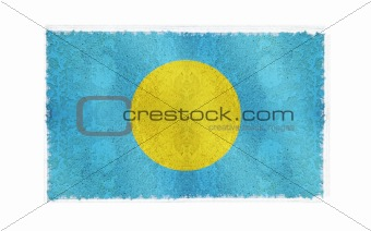 Flag of Palau Island on old wall background, vector wallpaper, texture, banner, illustration