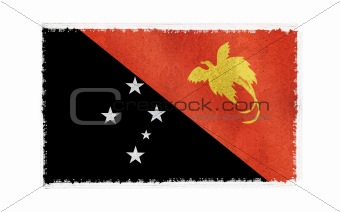 Flag of Papua New Guinea on old wall background, vector wallpaper, texture, banner, illustration