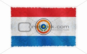 Flag of Paraguay on old wall background, vector wallpaper, texture, banner, illustration