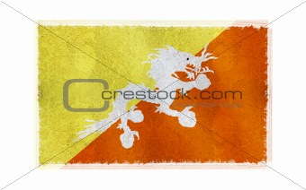 Flag of Bhutan on old wall background, vector wallpaper, texture, banner, illustration