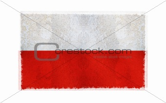 Flag of Poland on old wall background, vector wallpaper, texture, banner, illustration