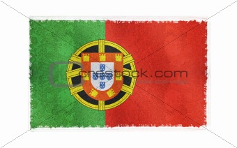 Flag of Portugal on old wall background, vector wallpaper, texture, banner, illustration