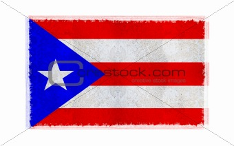 Flag of Puerto Rico on old wall background, vector wallpaper, texture, banner, illustration