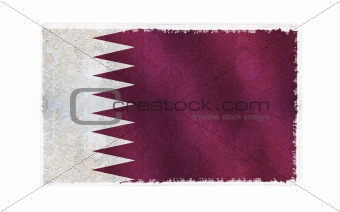 Flag of Qatar on old wall background, vector wallpaper, texture, banner, illustration