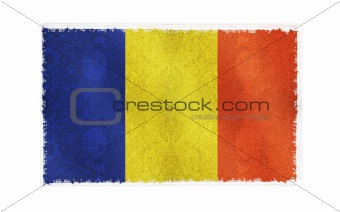 Flag of Romania on old wall background, vector wallpaper, texture, banner, illustration