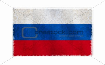 Flag of Russia on old wall background, vector wallpaper, texture, banner, illustration
