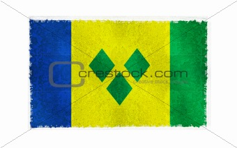 Flag of Saint Vincent on old wall background, vector wallpaper, texture, banner, illustration
