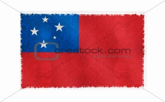 Flag of Samoa on old wall background, vector wallpaper, texture, banner, illustration