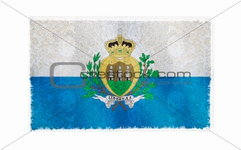 Flag of San Marino on old wall background, vector wallpaper, texture, banner, illustration