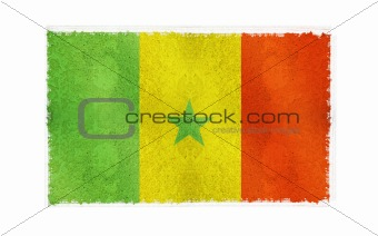 Flag of Senegal on old wall background, vector wallpaper, texture, banner, illustration