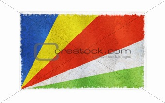 Flag of Seychelles on old wall background, vector wallpaper, texture, banner, illustration