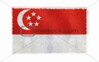 Flag of Singapore on old wall background, vector wallpaper, texture, banner, illustration