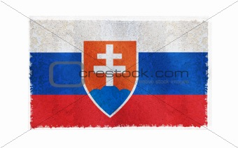 Flag of Slovakia on old wall background, vector wallpaper, texture, banner, illustration