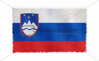 Flag of Slovenia on old wall background, vector wallpaper, texture, banner, illustration