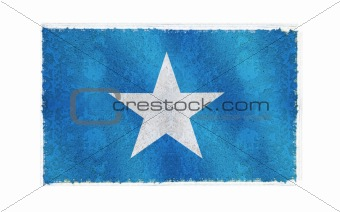 Flag of Somalia on old wall background, vector wallpaper, texture, banner, illustration