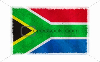 Flag of South Africa on old wall background, vector wallpaper, texture, banner, illustration