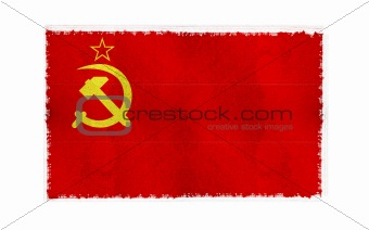 Flag of Soviet Union on old wall background, vector wallpaper, texture, banner, illustration