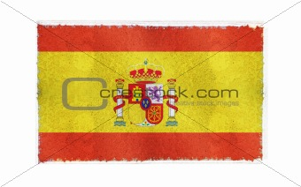 Flag of Spain on old wall background, vector wallpaper, texture, banner, illustration