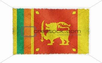 Flag of Sri Lanka on old wall background, vector wallpaper, texture, banner, illustration