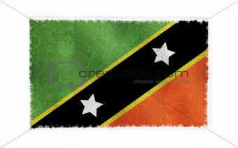 Flag of St. Kitts-Nevis on old wall background, vector wallpaper, texture, banner, illustration