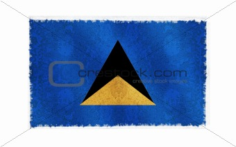 Flag of St. Lucia on old wall background, vector wallpaper, texture, banner, illustration