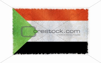 Flag of Sudan on old wall background, vector wallpaper, texture, banner, illustration