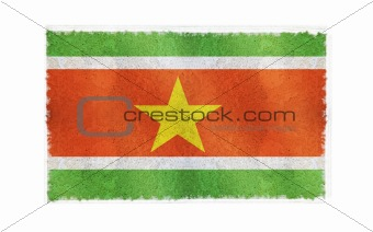 Flag of Suriname on old wall background, vector wallpaper, texture, banner, illustration