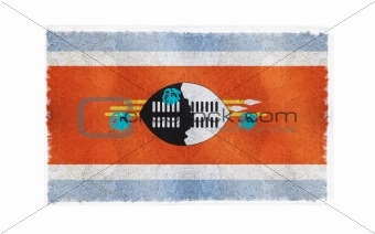 Flag of Swaziland on old wall background, vector wallpaper, texture, banner, illustration