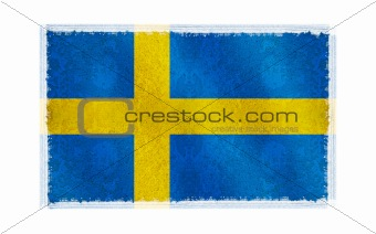 Flag of Sweden on old wall background, vector wallpaper, texture, banner, illustration