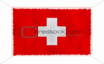 Flag of Switzerland on old wall background, vector wallpaper, texture, banner, illustration