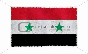 Flag of Syria on old wall background, vector wallpaper, texture, banner, illustration