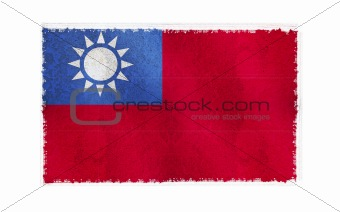 Flag of Taiwan on old wall background, vector wallpaper, texture, banner, illustration