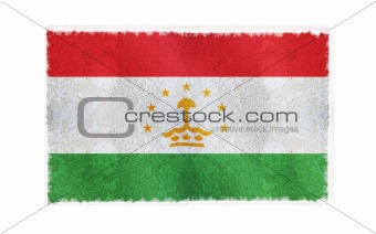 Flag of Tajakistan on old wall background, vector wallpaper, texture, banner, illustration
