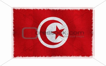 Flag of Tunisia on old wall background, vector wallpaper, texture, banner, illustration