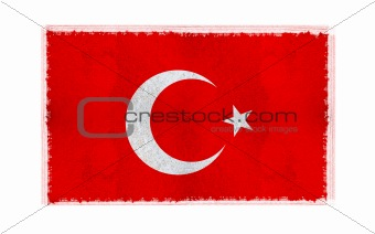 Flag of Turkey on old wall background, vector wallpaper, texture, banner, illustration
