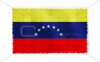 Flag of Venezuela on old wall background, vector wallpaper, texture, banner, illustration