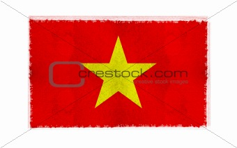 Flag of Vietnam on old wall background, vector wallpaper, texture, banner, illustration
