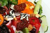 greek salad with tomato, cheese and olives