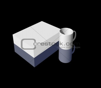 blank box and mug