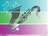 banner musical instrument in blue, wallpaper